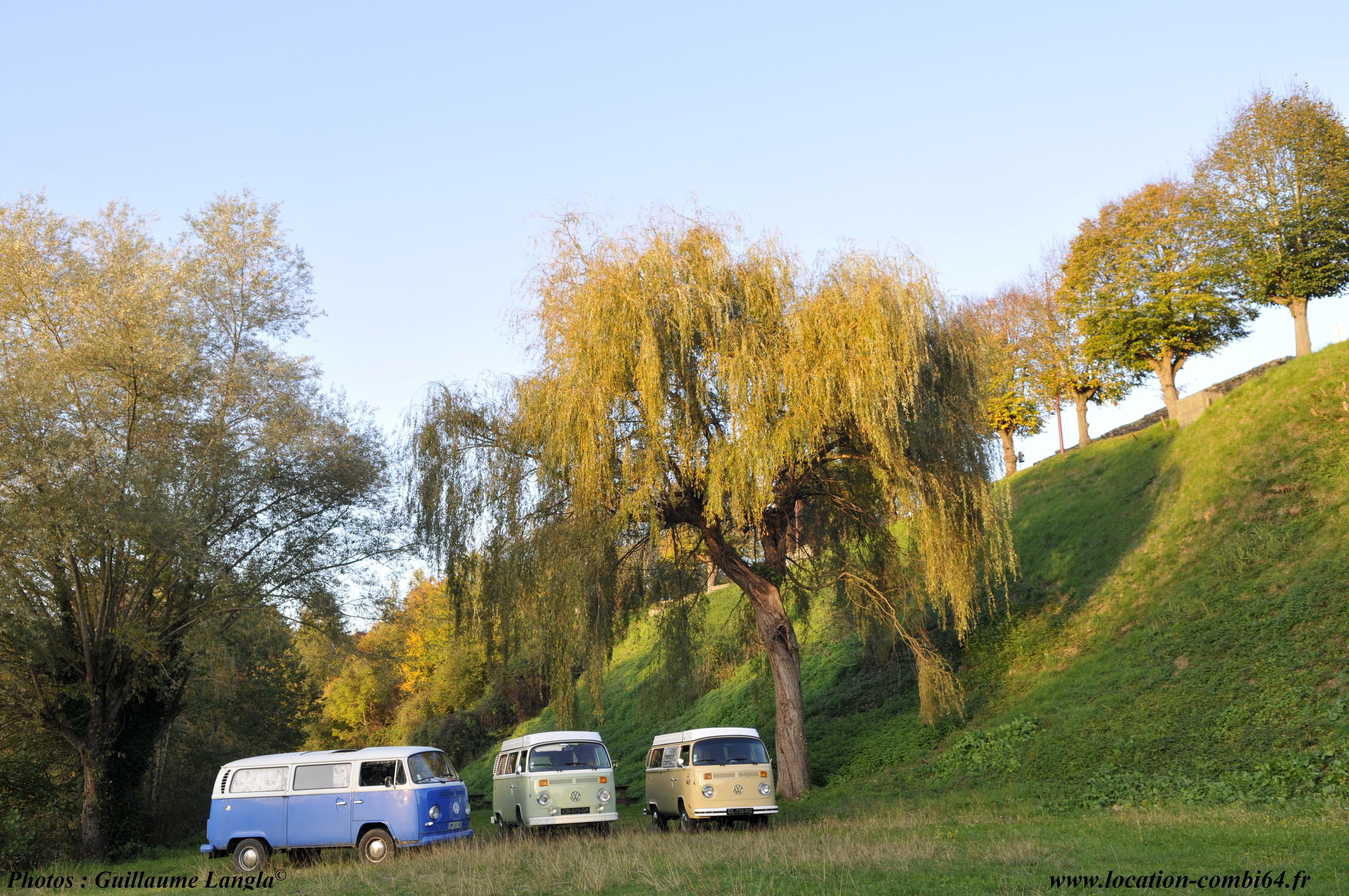 3 combis sous un arbre en plein soleil au bord du gave d'Oloron